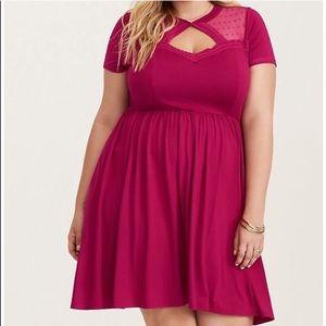 Torrid size 3 Rose Dot Skater Dress